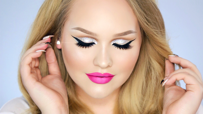Nikkietutorials Makeup >> Glitter Cut Crease – Hot Pink Lips Makeup Look