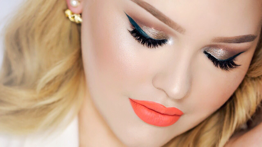 Taupe Smokey Eye With Teal Wing Summer Party Makeup ...